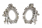 Set of oval baroque silver picture frames with cupid isolated on white with clipping path.