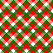 Checkered gingham fabric seamless pattern in christmas colors: green white and red, vector