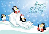 stock photo of polar bears  - Card with funny penguins and polar bear on blue snow background cartoons for winter Christmas or New Year design - JPG