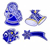 Christmas decoration blue  faience angel bells fish and comet vector