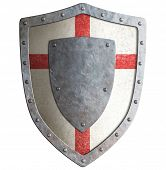 Old templar or crusader metal shield isolated on white