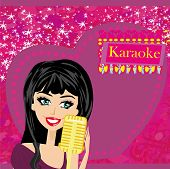 Karaoke Night, Abstract Illustration With Microphone And Singer