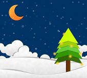 picture of crescent-shaped  - Snow in night Sky and Crescent Moon Paper Cut - JPG