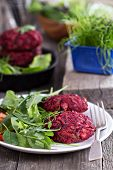 picture of vegan  - Beet root and red bean vegan burgers with salad - JPG