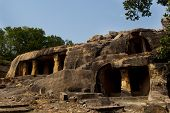 stock photo of jain  - The twin hills Udayagiri and Khandagiri are located in the vicinity of Bhubaneswar town - JPG
