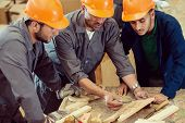 stock photo of wood craft  - Craft workers in wood factory - JPG