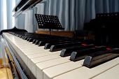stock photo of grand piano  - Grand piano waiting for children in music school