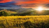 Постер, плакат: Meadow With Tall Grass In Mountains At Sunset