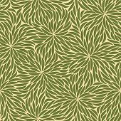 picture of stroking  - Abstract green strokes flowers seamless pattern on beige background - JPG