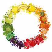 stock photo of composition  - Round composition with fruits and vegetables - JPG