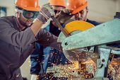 picture of factory-worker  - Workers in industrial factory - JPG