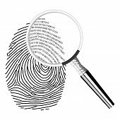 foto of fingerprint  - Illustration of magnifying mirror and binary code in fingerprint - JPG