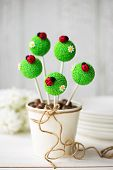 picture of cake pop  - Cake pops decorated with fondant ladybugs  - JPG