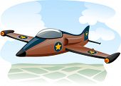 foto of fighter plane  - Illustration of a Jet Fighter Flying Over the Ocean  - JPG