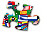 Piece of puzzle with flags of countries.