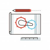 foto of cogwheel  - Thin line icon with flat design element of engineering construction planning cogwheel processing technical blueprint sketching and development - JPG