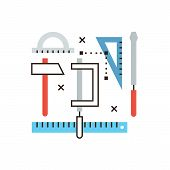 image of engineering construction  - Thin line icon with flat design element of engineering tools prototyping design technical equipment working instruments construct drawing - JPG