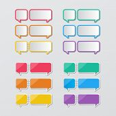 stock photo of staples  - two set of blank colorful paper speech bubbles stapled in flat style - JPG