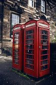 image of phone-booth  - Red phone booth in Edinburgh - JPG