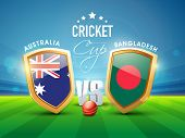 image of cricket ball  - Australia Vs Bangladesh Cricket match concept with ball and winning shield shining in stadium lights - JPG