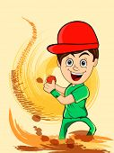 stock photo of cricket ball  - Cartoon of a smiling boy holding red cricket ball on abstract color splash background - JPG