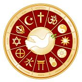 picture of khanda  - Dove of Peace with olive branch surrounded by 12 world religions  - JPG