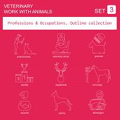foto of working animal  - Professions and occupations outline icon set - JPG