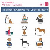 image of working animal  - Professions and occupations outline icon set - JPG