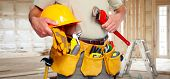 pic of handyman  - Builder handyman with construction tools - JPG