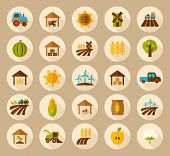 stock photo of wind-farm  - Farm Field flat icon with long shadow vector art - JPG