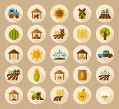 stock photo of farm  - Farm Field flat icon with long shadow vector art - JPG