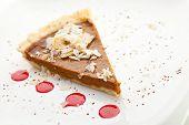 stock photo of pumpkin pie  - Fresh Pumpkin Pie with Berries Sauce - JPG