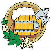 Beer with hops, a barrel and fish.