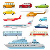 image of motor-bus  - Transport icons flat set with taxi bus helicopter tram ship isolated vector illustration - JPG