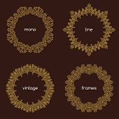 picture of monogram  - Vector geometric frame in trendy mono line style - JPG