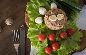 image of quail  - Paste from chicken liver on wooden plate with vegetables and quail eggs - JPG
