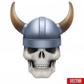 foto of viking  - Vector Human skull with viking helmet - JPG