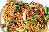 picture of stir fry  - Stir fried noodle spicy in pork on plate  - JPG