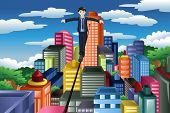 foto of tights  - A vector illustration of businessman balancing on a tight rope - JPG