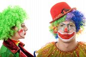 Portrait Of A Pair Of Serious Clowns