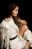 picture of nativity  - A Native American woman looking to the side in her Native clothing - JPG