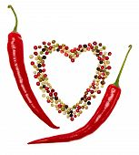 pic of peppercorns  - Red hot pepper in pods and colorful mixture of peppercorns concept of love - JPG