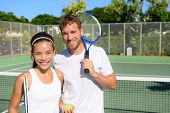 Постер, плакат: Tennis players portrait on tennis court outdoor Couple or mixed double tennis partners after playin