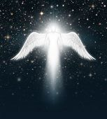 image of cherubim  - Digital illustration of an angel in the night sky full of stars - JPG