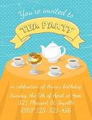 foto of teapot  - Modern flat vector tea party invitation card with tea cups - JPG