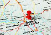 picture of dnepropetrovsk  - Close up of Dnepropetrovsk Ukraine map with red pin - JPG