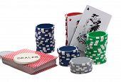 picture of joker  - Casino Chips and A Joker Card over white - JPG