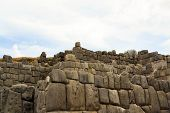 picture of conquistadors  - Ancient Inca fortress Saksaywaman is a military fortification used against the Spanish conquistadores near Cusco in Sacred Valley - JPG
