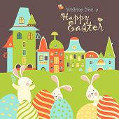 stock photo of easter eggs bunny  - Easter bunnies and easter eggs - JPG