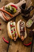 foto of wiener dog  - Chilli and vegetarian hot dog home pickles beef meat and homemade barbeque souce - JPG